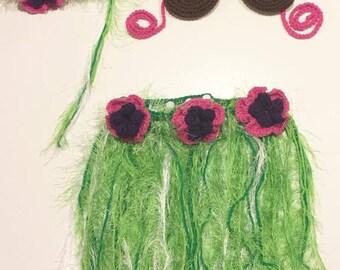 Crochet Baby Hula Outfit, baby photo prop, Hawaiian hula baby