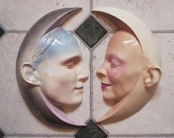 Will Herrera Ceramic Wall Art Masks, TWO Hand Painted Matching Crescent Moon Masks