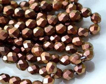 Tawny Rose 6mm Faceted Fire Polish ROund Czech Glass Beads   25