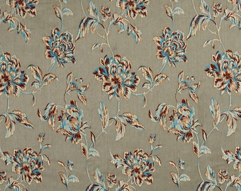 Grey, Blue and Bronze Large Scale Flowers and Leaves Damask Brocade Upholstery Fabric By The Yard | Pattern # B0720E