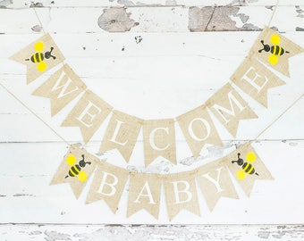 Bumble Bee Baby Shower Decor, Bee Welcome Baby Banner, Honey Bee Baby Shower Garland, Mummy To Be, B748
