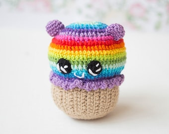 Rainbow cupcake, Crochet Baby toy, Bear cupcakes, Kawai Amigirumi Play Food, Soft Toy,Plush Cake, photo props, children's rooms Decor