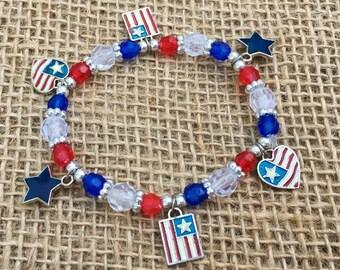 1 | Patriotic Bracelet | American Flag Jewelry | Fourth of July Bracelet | Kids Crafts | Bead Kit