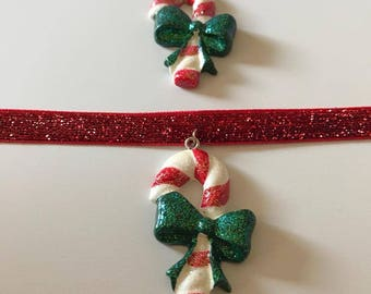 Candy Cane Christmas Choker Necklace