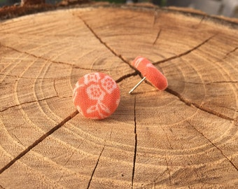 Orange with white floral design fabric button earrings