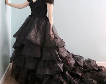 Victorian Inspired Black Gothic Princess Corset Wedding Gown with Red Lace Up Back - L'Amei 2017