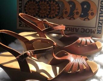 Vintage Brown Wedge Sandals - Mock Around the Clock Naturalizer - Original Box & Pamphlet