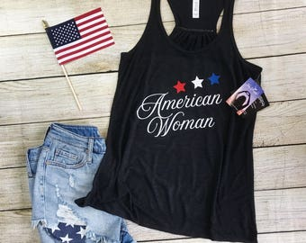 American Woman, 4th of July, bella tank top, patriotic, USA, America, Merica, stars, summertime, soft, high quality, adult, glitter, custom