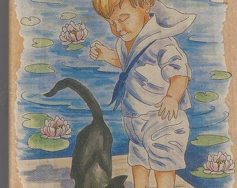Boy with Cat Stamps Happen #80054 Designed by Nancy Cole Retired Wood Mounted Rubber Stamp Sailor Boy with Cat on Dock