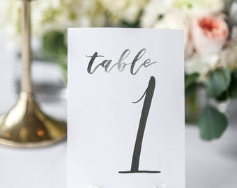 Watercolor Wedding Table Numbers BLACK // table cards // watercolor // wedding // table numbers // paper table cards // watercolor card