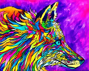 Foxadellic Print (Copic Marker Rainbow Neon Psychedelic Fox with Fuscia and Violet Background)