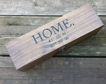 Custom latitude and longitude coordinates dark wood wine box tote carrier - Housewarming new home gift