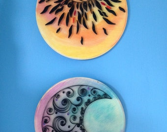 Handmade Quilled Paper Sun and Moon- watercolor on wood, 2 Pieces Art