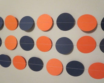 Orange Navy Blue Paper Garland Tailgate Backdrop Birthday Party Decor Photo Prop Backdrop Man Cave