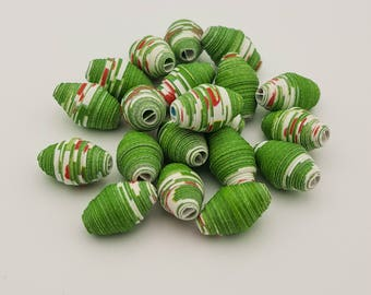 Christmas Green | Paper beads | Paper Bead Jewelry | Recycled Upcycled | Loose Paper Beads | Jewelry Supplies | Beading Supplies | Bicone