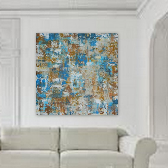Blue tan beige rusty orange large canvas painting unstreched wall art large abstract paintng original art original painting