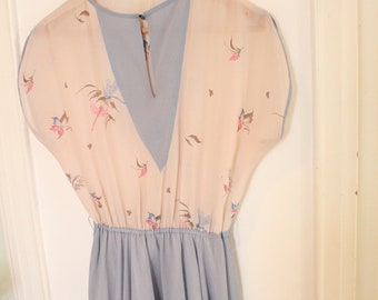 Vintage Pale Pink and Blue Nude Chiffon Floral70's Dress