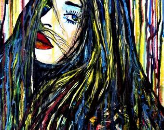 Watercolor painting, Face painting, Girls, Fashion art, Don't Look Back, Street art inspired, ORIGINAL art, Pop art, Wall art, Alex Solodov