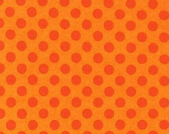 Orange Flame Polka Dot Cotton Fabric -  Spot On by Robert Kaufman Fabrics - Perfect for Nursery, Clothing, and Quilts