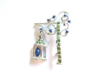 Rhinestone Lamppost Brooch Pin 1950s Costume Jewelry Blue and Green Figural Vintage Lighting  MoonlightMartini