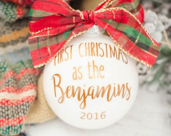 First Christmas Ornament Married, Newlyweds, Custom holiday gift, Christmas ornament, Gift for couples, Stocking Stuffer, Mr and Mrs gift