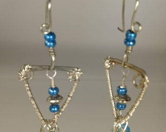 Blue glass and silver wire wrapped Earrings