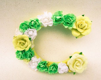 Flower name letter - Floral wall letter - Floral letter C - Floral nursery letter - Wedding decor - Yellow flower letter - Wall decor