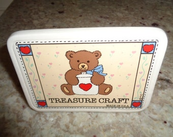 Retro Kitschy Treasure Craft Bear with cookie jar Advertising Table Sign
