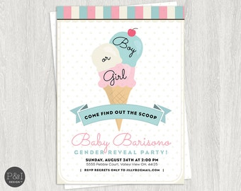 Ice Cream Gender Reveal Party Invitation/Find out the Scoop/ DIY/ Customized Printable