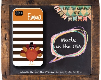 Thanksgiving Turkey iPhone Case, Personalized Holiday iPhone Case, Fits iPhone 4, iPhone 4s & iPhone 5, iPhone 5s, iPhone 5c, iPhone 6