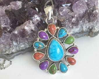Multi Turquoise pendant necklace, Sterling Silver, Blue, Purple, Green, Orange Turquoise with chain.