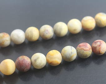 Matte Yellow Crazy Lace Agate Round Beads 6mm 8mm Gemstone-15 Inches One Strand