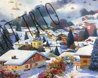 Winter Landscape Oil Painting 55x90 cm