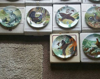 Reduced Bone china collectors plates /complete set/Bradex /The Game Bird Collection /original boxes never displayed/handpainted plates