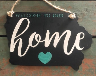 "Iowa Metal Sign ""Welcome to Our Home""  by JunkFx"