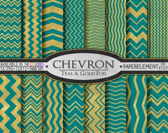 Printable Teal and Gold Chevron Digital Paper: Teal and Gold Patterns, Gold and Teal Paper, Gold and Teal Backgrounds, Teal and Gold Design