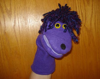 Purple hand puppet moveable mouth