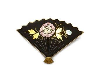 Vintage Japanese Inaba Cloisonne Co. Damascene Fan Brooch in Original Storage Pouch