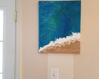 16in x 20in Original beach painting ,mixed media Ocean painting, abstract beach art , abstract beach painting