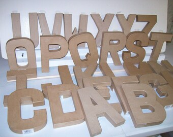 "Paper Mache Letters 8"" High - A-Z plus ""&""- These Cardboard Letters are fun to decorate!"