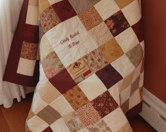 Custom Made Vin Du Jour Signature Quilt, Wedding, Baby Shower, Hand Quilted