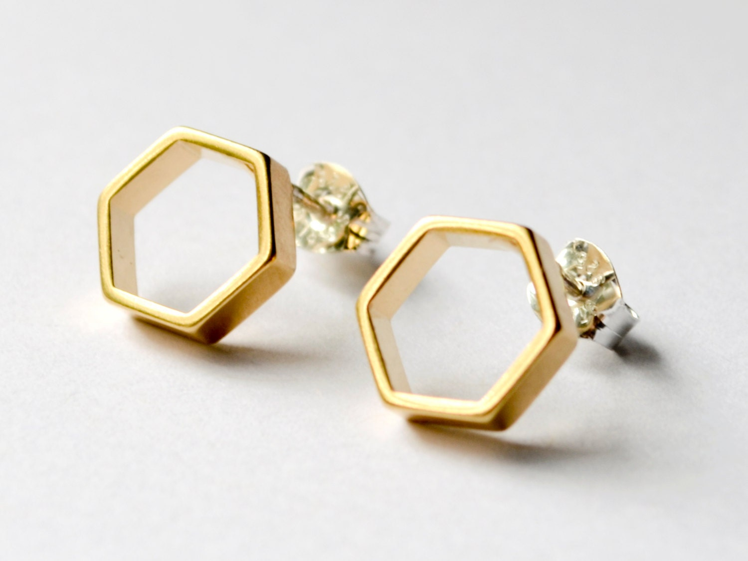 Gold Hexagon Stud Earrings Geometric Honeycomb Studs