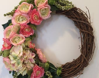 Spring grapevine pink & green floral wreath