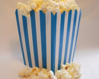 24 Mini Turquoise and White Striped popcorn boxes treats favors