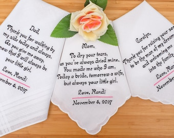 custom handkerchiefs, Personalized wedding handkerchiefs, Embroidered handkerchiefs, Handkerchief gifts, Wedding gifts for Parents. hankies