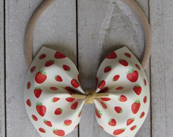 Strawberry fields faux leather bow