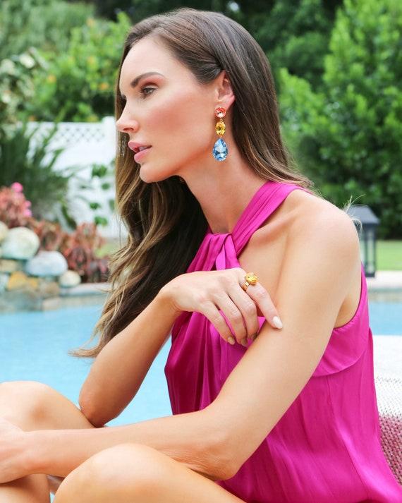 Triple Drop Crystal Earrings in Bahamas