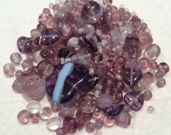 Czech Glass Bead Mix, Violet Mix, 00008, 50 Grams