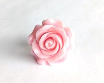 Large Pink Rose Adjustable Ring - Kawaii Jewelry Fairy Kei Jewelry Sweet Lolita Jewelry Decora Ring Decora Jewelry Pop Kei Jewelry Harajuku