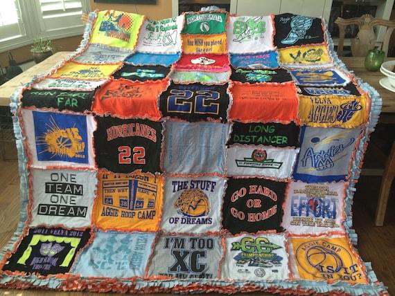 CUSTOM, HANDMADE, RAGGED, T-Shirt Blanket, T-Shirt Quilt